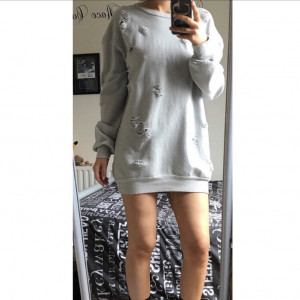 MISSPAP Distressed Grey Sweatshirt/Dress