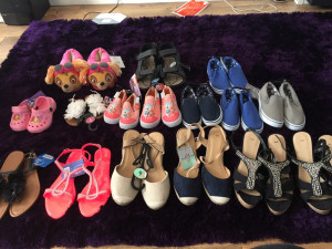 Girls boys ladies men's shoes  Paw patrol slippers size 13-1.5 Men's sandals size 9 Boys blue slip ons size 10 and size 11 Paw patrol croc type size 5  Paw patrol slip ons size 5&9  White flower sandals size 7 Black flower ladies size 4  Pink diamanté sand