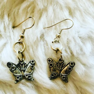 Boho Silver Tone Butterfly Pierced Earrings Party Holiday Costume Jewe