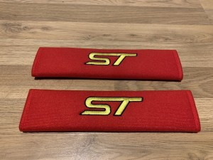 2X Seat Belt Pads Cotton Red Gifts Ford ST Racing Focus Fiesta Tuning
