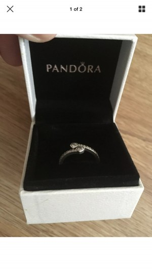 Pandora Sparkly Two Heart Ring Size 58