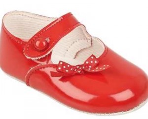 Red patent pram shoes