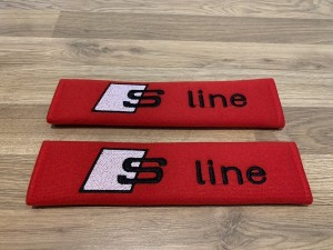 2X Seat Belt Pads Cotton Red Gifts Audi S Line sline A1 A3 A4 A5 A6 A8