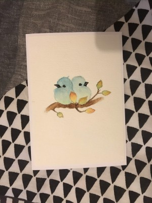 Watercoloured Blue Birds Card