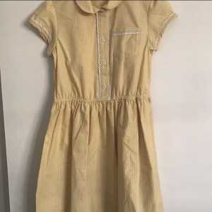 Yellow school button up summer dress