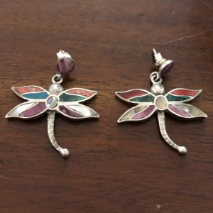 Vintage 950 Platinum Dragon Fly Earrings Abalone Mother of Pearl Inlay