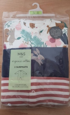 marks and Spencer 2-3 year old baby sleep suits