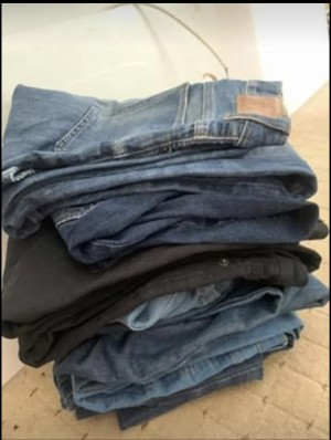 "7 pairs of denim jeans up to size 30"" waist"