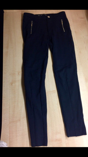 High-waisted navy stretch trousers