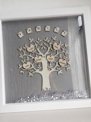 Handmade box frame family tree large