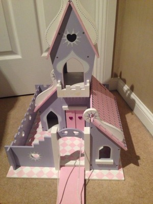 Wooden castle with characters