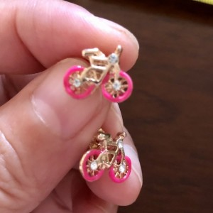 Sweet 925 Silver Gold Plated Pink Wheeled Bicycle Stud Earrings