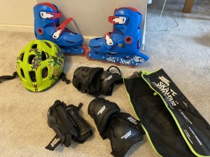 Kids inline skates with protective gears and helmet