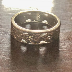 Antique 9ct Solid White Gold Flower Floral Cut Band Ring Size K