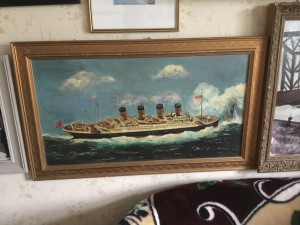 RMS titanic white star liner oil painting on canvas W30in H18in