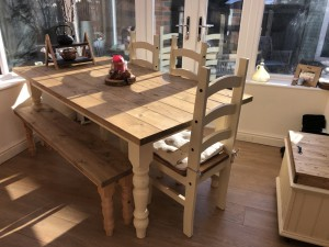 Farmhouse country kitchen dining table and bench handmade / made to order & delivery available