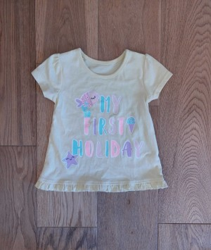 'My First Holiday' yellow top - ages 6-9 months