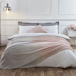 Blush Pink & Grey Ombre Waffle Throw