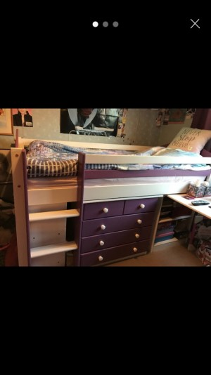 Purple mid sleeper with desk and drawers (Collect only)
