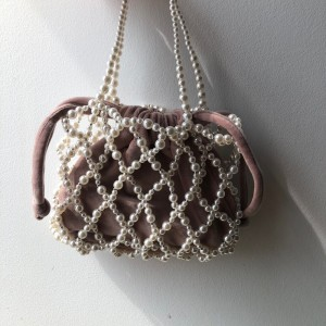 Zara pink velvet pearl bucket bag brand new without tag.