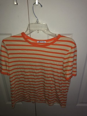 Zara orange striped t-shirt size small