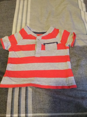 Baby Boys Red & Grey Striped T-Shirt - Aged 0-3 Months