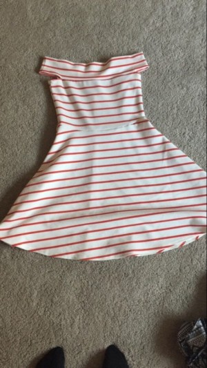 Red and white stripy off the shoulder dress. From m&co 'kylie' collection 13-13+ years