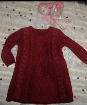 Red cable knit dress 1.5-2yr
