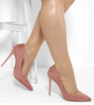 Blush suede heels with gold studs