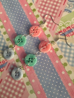 Handmade Button Earrings New