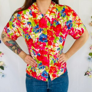 Vintage floral abstract blouse