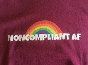 """""""Noncompliant AF"""" t-shirt, small, dark red"""
