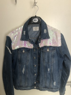 Bright and colourful denim jacket