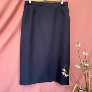 Vintage 1980s navy blue pencil office formal straight with split back