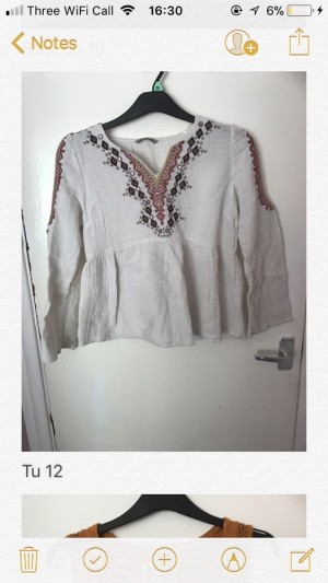 Size 12 TU white patterned cold shoulder top
