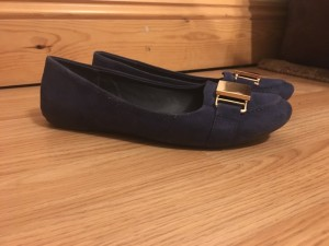 Navy ballerina gold buckle shoes! Size 6