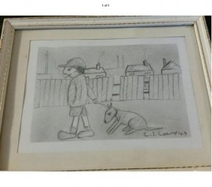 Original drawing Signed L S Lowry of a boy smoking with his dog