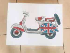 Vespa Scooter Lambretta Art Canvas Piece 30cm by 40cm mod style fab