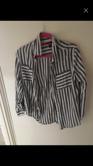 Size 12 grey and white shirt