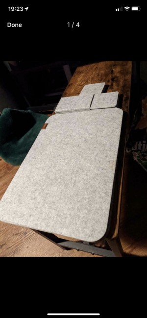 Place matts grey felt 4x place mats coasters and cutlery