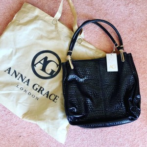 Anna Grace Large Black Bag Shopper Fashion College School Beach Holida