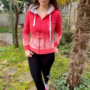 Reworked upcycled red bleached full zip up hooded jumper sweatshirt si