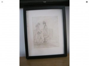 Original drawing Signed L S Lowry 1938